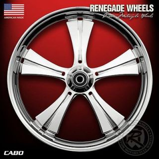 RENEGADE CABO CHROME 21 WHEELS PACKAGE SET TIRES HARLEY FLH/FLT 09 13
