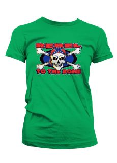 Rebel To The Bone Skull South Confederate Flag Southern Girls Juniors