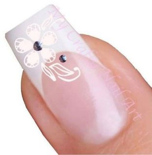 White Flower & Rhinestone Adhesive Nail Stickers, Decals, Art 01.02