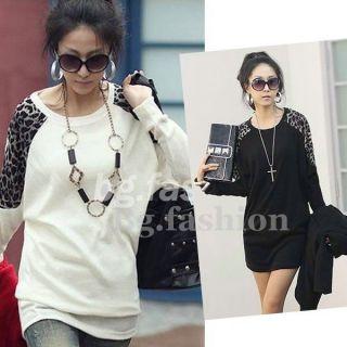Fashion Womens Batwing Tops Leopard Print T Shirt Long Sleeve Casual