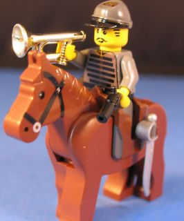 LEGO® brick custom CIVIL WAR CONFEDERATE CAVALRY +BUGLE