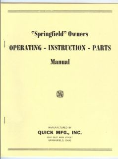 Springfield Walk Behind Garden Tractor Instruction Manual & Parts List