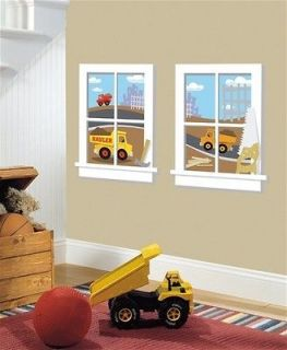 New Baby Boy Nursery CONSTRUCTION WINDOWS WALL DECALS Dump Trucks