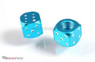 Blue/Chrome Aluminum Dice Tire/Wheel Air Stem VALVE CAPS for