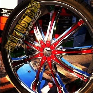 Wheels Rims Tires Red DW29 5x120 Chevrolet Camaro 2010 2011 2012