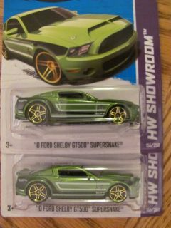 2013 Hot Wheels 2010 Ford Shelby GT 500 Supersnake Mustang Green X2