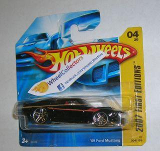 Ford Mustang * BLACK on SHORT CARD * 2007 Hot Wheels * New Models 4/36