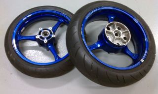 2006 2007 GSXR 600 GSX R 600 Blue Wheels Wheel Set Rims and Tires Nice