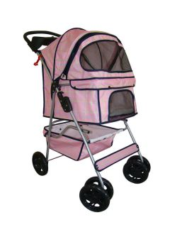 Pink Grid 4 Wheels Pet Dog Cat Stroller w Raincover