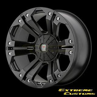 XD778 Monster Matte Black 5 6 7 8 Lug Wheels Rims Free Lugs