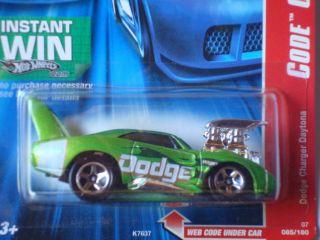 Hot Wheels 2007 Code Car Series 69 Dodge Charger Daytona Green 085