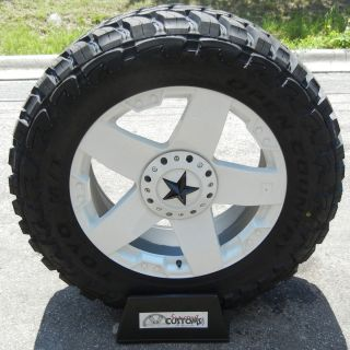 22 White XD Rockstar Wheels Rims 35 Toyo Open Country MT Chevy
