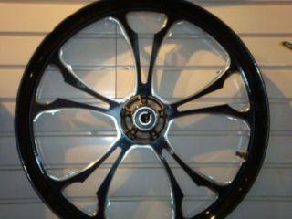 Custom Wheels 2 Black Billet Rims 2 Rotors Pulley for Harley