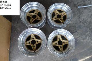 JDM Enkei AP racing 13 rims wheels ae86 kp61 datsun 510 rx3 neg offset