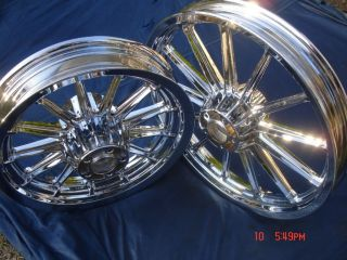 Harley Davidson Chrome 13 Spoke Wheels Fit Dyna Sportster 84 99