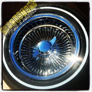 14 14X7 Reverse Wire Spoke Wheels Rims Tires White Wall 175 70 14