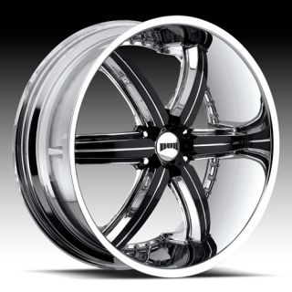 26 x10 Dub Bomber 6 Chrome w Black 6 Lug Wheels Rims