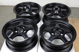 15 4x100 Matte Black Effect Wheels Protege Accent Esteem Saturn