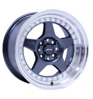 Chikara RS5 Gunmetal Machined Lip Wheels 15x8 3 Lip Rim Offset Civic
