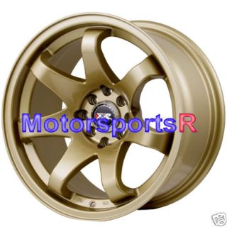 15 15x8 XXR 522 Gold Concave Wheels Rims Stance 4x100 Old School Drift