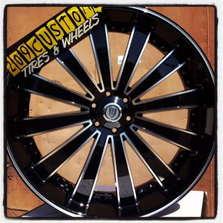 22 inch Versante Rims Wheels Tires VW225 22x8 Black Buick Regal 1997
