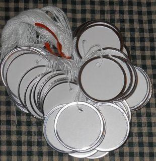 25 MEDIUM WHITE METAL RIM ROUND CIRCLE HANG TAGS LOT 1 9 16