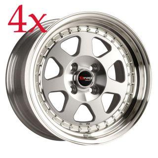 Drag Wheels DR 27 15x7 4x100 et10 Full Machined Face Rim accord datsun