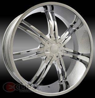 24X10 Et 30 Chrome Elure 015 Wheels Rims 6 Lug Trucks 6x135 6x139 7