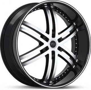 26 x10 Status Knight 6 S817 Black Machined Wheels Rims