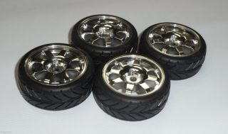 4X Team Associated Factory Tires Rims from TC4 TC3 12mm Hex AE