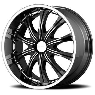 22 inch DIAMO 30 Karat Black Wheels 5x150 Toyota Tundra