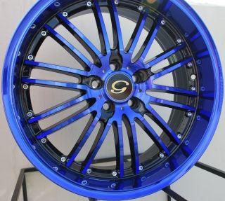 18x8 G Line G820 Wheel 5x108 38 Black Blue Rim Fits Volvo V40 S40 C70