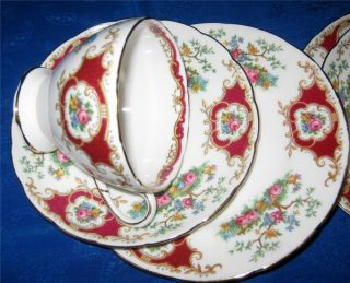 FOLEY BONE CHINA TRIO BROADWAY BIRD OF PARADISE PINK FLORAL GOLD RIM