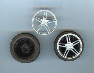 Used Lego Black Hub Technic Wheels 43 2 x 22 ZR Hubcap Five Spoke
