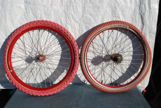 BMX Araya 20 Red Anodized Rims Wheels Shimano Hub DD Survivors