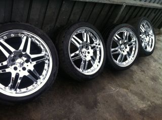 S55 S500 Staggered Chrome Rim Set Wheel Wheels Tries 19 Tire