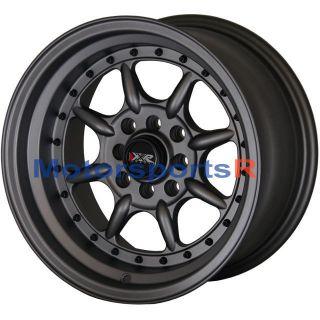 16 16x8 XXR 002 Flat Gun Metal Rims Wheels Deep Dish 98 Nissan 240sx