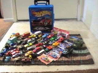 LOT OF 54 Vintage Modern Hot Wheels/Matchbox Cars &ETC. WITH CARRYING