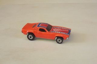 Dixie Challenger Hot Wheels Orange w O Rebel Flag on Roof BW Vtg 80s