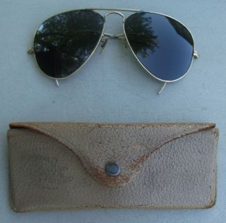 Vintage B L Ray Ban Aviator Sunglasses 12K Gold Rims Gray 58mm