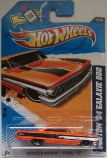 2012 Hot Wheels Custom 64 Ford Galaxie 500 Col 113 Orange Version