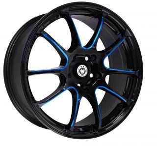 Konig Illusion 17x7 5x114 3 ET40 Black Wheels Fit RSX TSX Civic SI