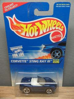 1996 Hot Wheels 1 64 Chevy Corvette Stingray III 595 Blue 3S ml Base
