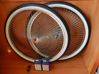 26 Bicycle 140 Spoke Wheel Package Rims Tires and Tubes Chopper Beach