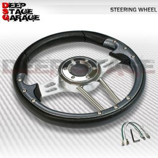 Universal 6 Bolt Aluminum Frame 330mm Racing Steering Wheel Black
