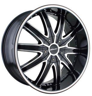 22 inch Veloche Tork Black Wheels Rims 6x5 5 Sierra Yukon H3 Entourage