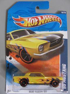 Hot Wheels Car Yellow 65 Ford Mustang Heat Fleet 11 Brand New Mint
