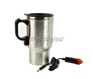 12V Silver Heated Heating Stainless Steel Cup 35DI Car Adapter Coffee