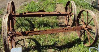 Antique Farm Industrial Steel Wheels w Axel