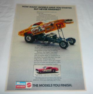 1971 Monogram Hot Wheels Ad Don The Snake Prudhomme